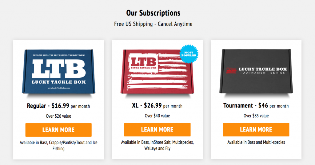 updated subscription pricing for lucky tackle box