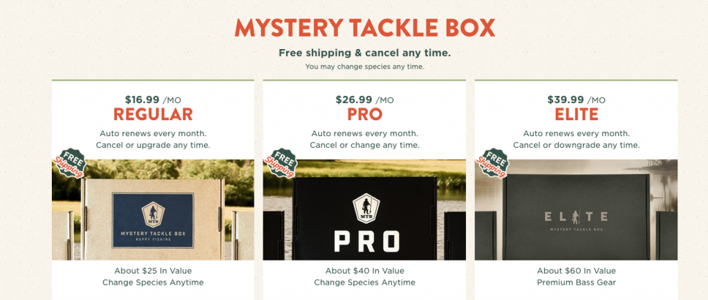 updated mystery tackle box subscription prices
